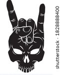 human skull hand gestures rock... | Shutterstock .eps vector #1828888400
