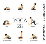 set of 8 yoga poses in flat... | Shutterstock .eps vector #1828899236