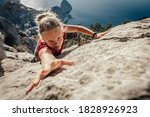 Brave Young Woman Climber...