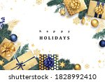 navy blue and golden stylish... | Shutterstock .eps vector #1828992410