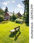 lonely bench in backyard. house ... | Shutterstock . vector #182901299