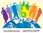 lgbtq people and planet earth.... | Shutterstock .eps vector #1829015699