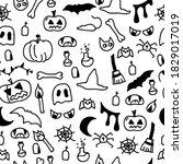 doodle halloween seamless... | Shutterstock .eps vector #1829017019