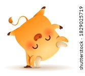 cute little ox handstand pose.... | Shutterstock .eps vector #1829025719