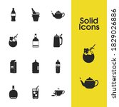 drink icons set with large milk ...