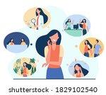 positive girl and her life... | Shutterstock .eps vector #1829102540
