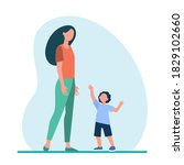 little son reaching arms to his ...   Shutterstock .eps vector #1829102660