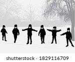 black silhouette of children on ... | Shutterstock .eps vector #1829116709