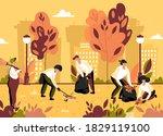 volunteer team of young people... | Shutterstock .eps vector #1829119100
