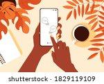 african female hand hold... | Shutterstock .eps vector #1829119109