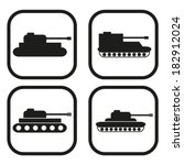 tank icon   four variations | Shutterstock .eps vector #182912024