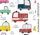 Vector Pattern With Cars. Fire...