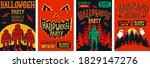 Halloween Posters Set. Vector...