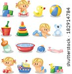 vector illustration of baby... | Shutterstock .eps vector #182914784