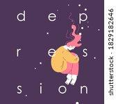 depression concept illustration ... | Shutterstock .eps vector #1829182646