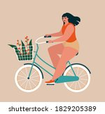 body positive woman. beautiful... | Shutterstock .eps vector #1829205389
