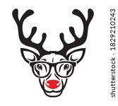 red nose reindeer wearing...   Shutterstock .eps vector #1829210243