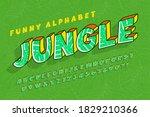 trendy comical jungle alphabet...   Shutterstock .eps vector #1829210366