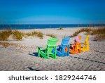 Troical Colored Beach Chairs...