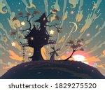 autumn fantasy landscape with...   Shutterstock .eps vector #1829275520
