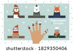Finger puppet theater. Cut out template, glue and play. Zoo puppets for preschool or school. Game and education worksheet. Winter animals doll collection. Vector illustration in scandinavian style.