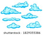 set of blue clouds in hand... | Shutterstock .eps vector #1829355386
