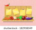fresh vegetables on a wooden... | Shutterstock .eps vector #182938349