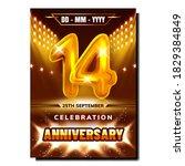 14 celebration anniversary...   Shutterstock .eps vector #1829384849