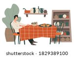 male character sitting by table ... | Shutterstock .eps vector #1829389100