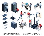 isometric icons set with system ...   Shutterstock .eps vector #1829401973