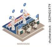 modern warehouse fully...   Shutterstock .eps vector #1829401979