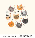 background with funny and cute... | Shutterstock .eps vector #1829479493
