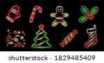 Set Of Neon Cristmas Icons...