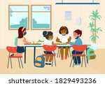 different races elementary... | Shutterstock .eps vector #1829493236