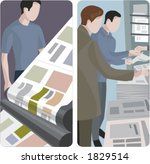A set of 2 vector illustrations of news papers printing and selling.