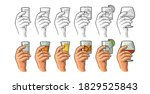 male hand holding a glass with... | Shutterstock .eps vector #1829525843
