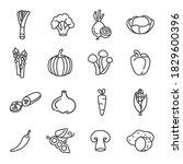 veggie line icons set vector... | Shutterstock .eps vector #1829600396