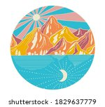 hand drawn mountains with sun... | Shutterstock .eps vector #1829637779