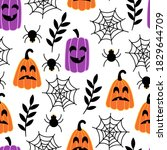 seamless pattern for halloween... | Shutterstock .eps vector #1829644709