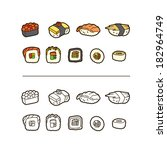 sushi icon set  color and line. | Shutterstock .eps vector #182964749