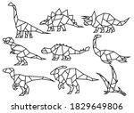 set of dinosaurs in origami... | Shutterstock .eps vector #1829649806