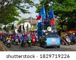 Small photo of Rancaekek, Bandung - October 7, 2020 : Labor demonstration against the ratification of the Omnibus Law at Rancaekek. Serikat Buruh Indonesia. Undang-Undang Cipta Kerja