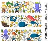 vector pirate set in cartoon... | Shutterstock .eps vector #1829741603