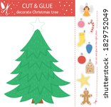 vector christmas cut and glue... | Shutterstock .eps vector #1829752049