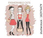cute fashion girls cats colored ... | Shutterstock .eps vector #182976479
