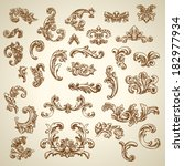 set of vector vintage baroque... | Shutterstock .eps vector #182977934