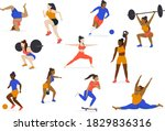 set of multicultural athletes... | Shutterstock .eps vector #1829836316