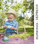 cute little boy wearing hat...   Shutterstock . vector #182986214