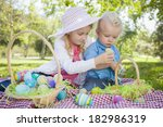 cute young brother and sister... | Shutterstock . vector #182986319