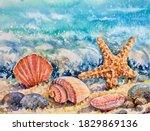 Watercolor Summer Beach...